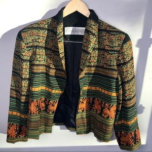 Vintage Patterned Open Blazer